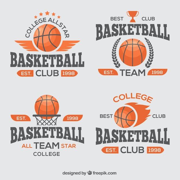 Pack de insignias de baloncesto vector gratuito