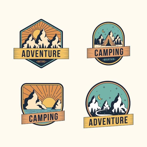 Pack de insignias de camping y aventuras vintage vector gratuito