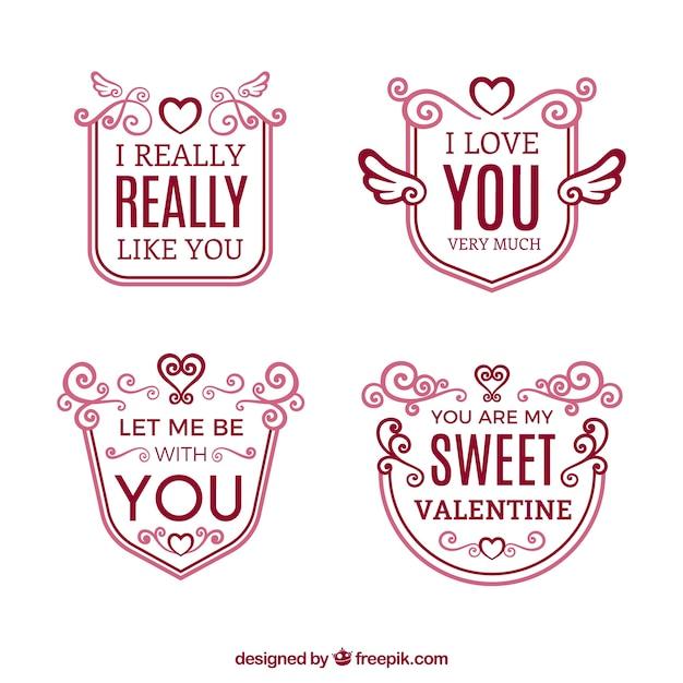 Pack De Insignias Con Frases De Amor Descargar Vectores Gratis