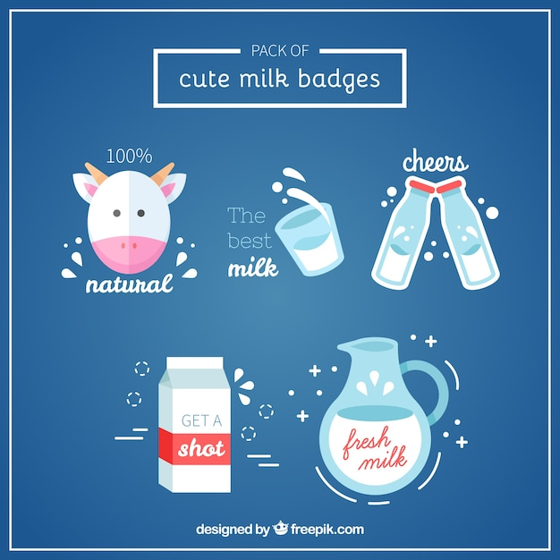 Pack de insignias de leche bonitas Vector Premium
