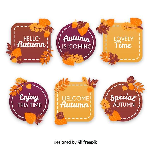 Pack de insignias planas de otoño. vector gratuito