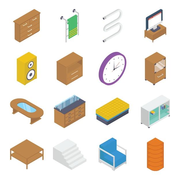 Pack isométrico de muebles e interiores Vector Premium
