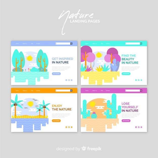 Pack landing page coloridas naturaleza vector gratuito
