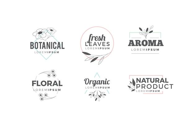 Pack logo natural en estilo minimalista vector gratuito