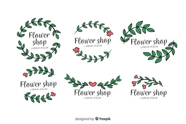 Pack de logos de floristería para bodas. vector gratuito