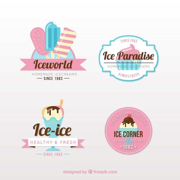 Pack de logos de heladería en estilo vintage Vector Premium
