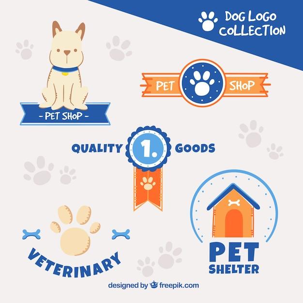 Pack de logos de perro con elementos azules vector gratuito