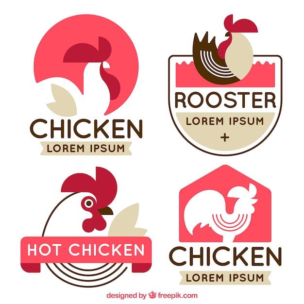 Pack de logos planos con gallo decorativo vector gratuito
