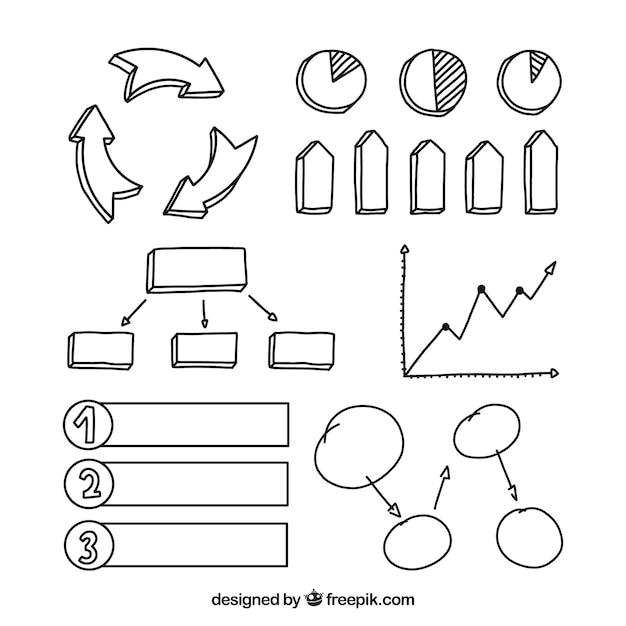 Pack a mano de elementos infográficos vector gratuito