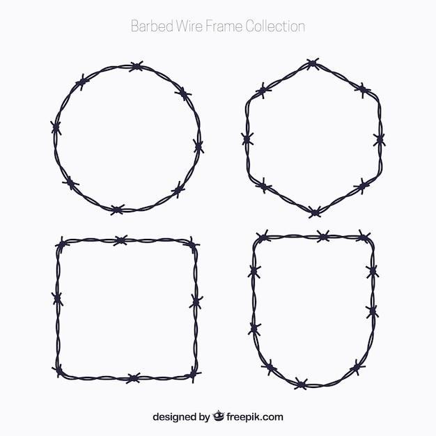 Pack de marcos de alambre de espina vector gratuito