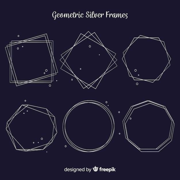 Pack marcos geométricos plateados vector gratuito