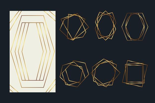 Pack de marcos poligonales dorados vector gratuito