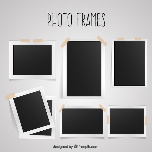 Pack de marcos sencillos de fotos Vector Premium