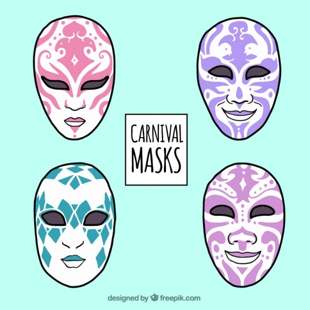 Pack de máscaras con diseño abstracto dibujadas a mano vector gratuito