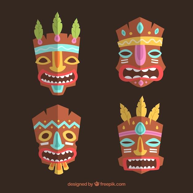 Pack De Máscaras Tribales Con Detalles De Colores Descargar