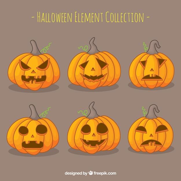 Pack moderno de calabazas de halloween terrorficas Descargar