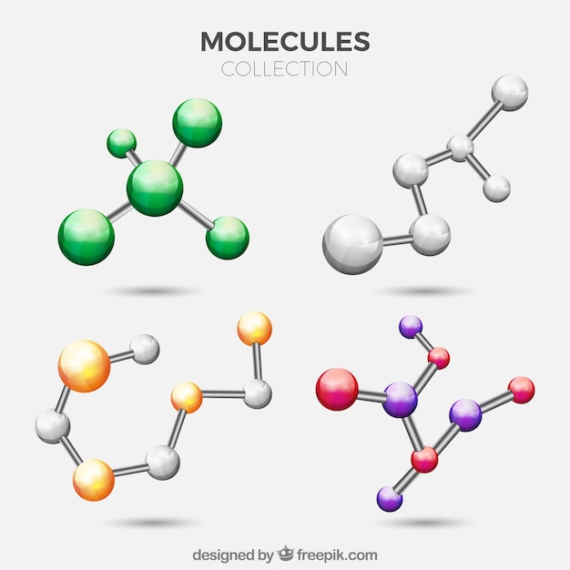Pack de moléculas de colores Vector Premium