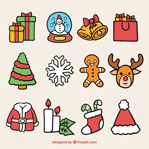 Pack de navidad con elementos adorables vector gratuito