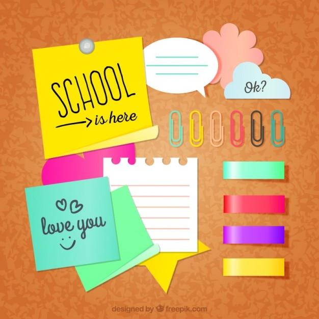 Pack de notas escolares vector gratuito