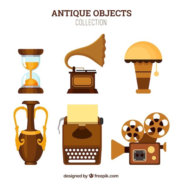Pack de objetos antiguos en diseño plano vector gratuito