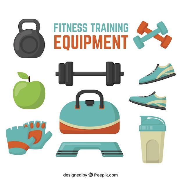 Pack de objetos de fitness en diseño plano vector gratuito