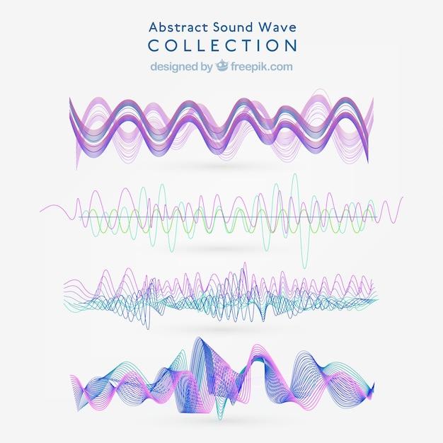 Pack de ondas sonoras abstractas con detalles morados Vector Premium
