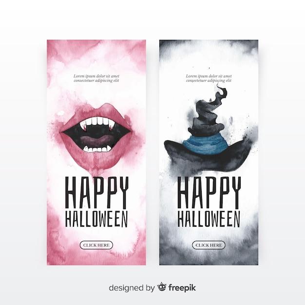 Pack original de banners de halloween en acuarela vector gratuito