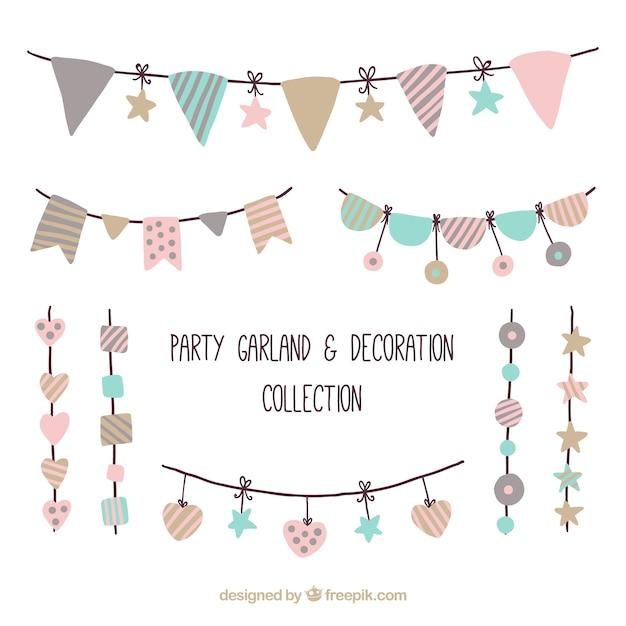 Pack de ornamentos de fiesta en estilo vintage vector gratuito