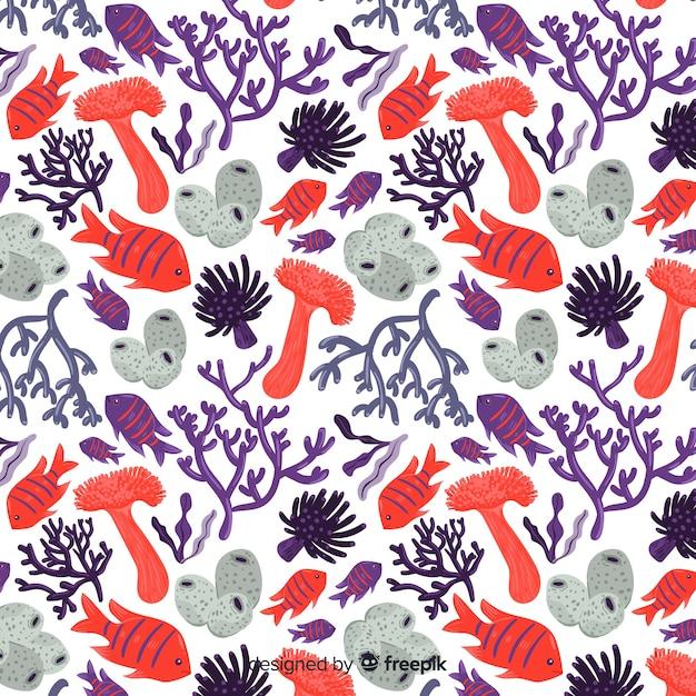 Pack patrones coral y peces coloridos planos vector gratuito