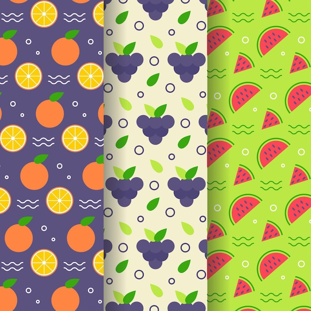 Pack de patrones de frutas vector gratuito