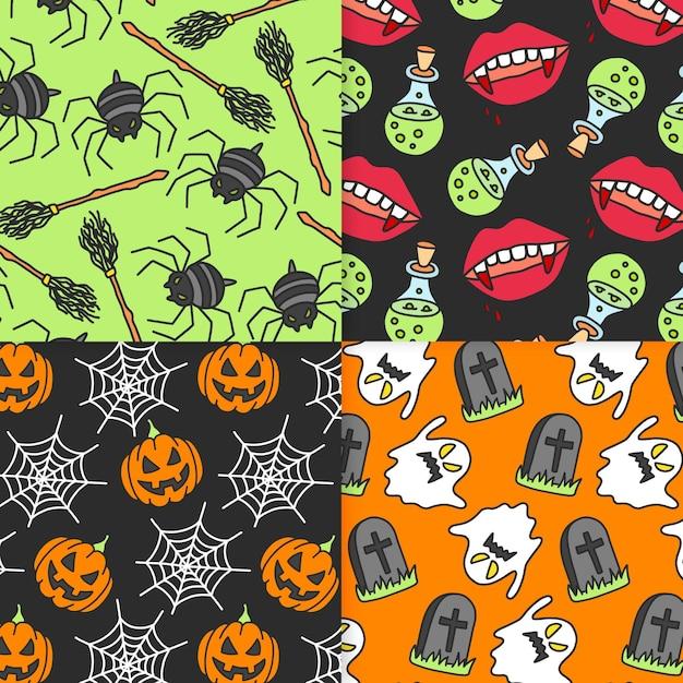 Pack de patrones de halloween dibujados a mano vector gratuito