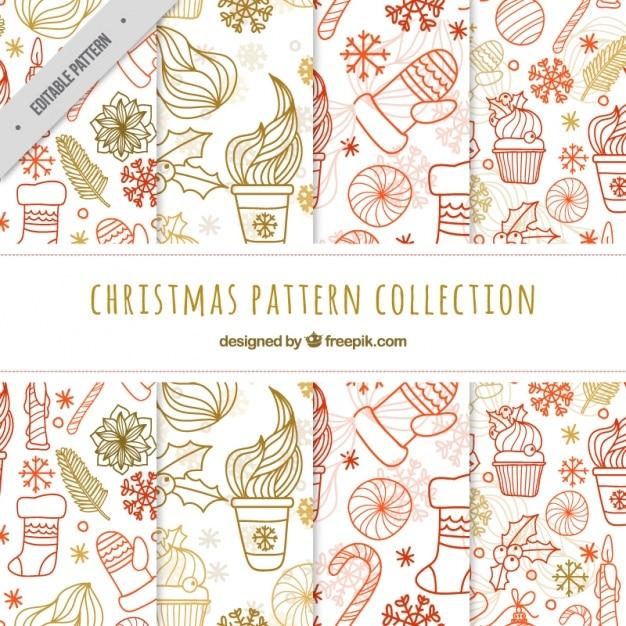 Pack de patrones de navidad con garabatos | Descargar Vectores gratis
