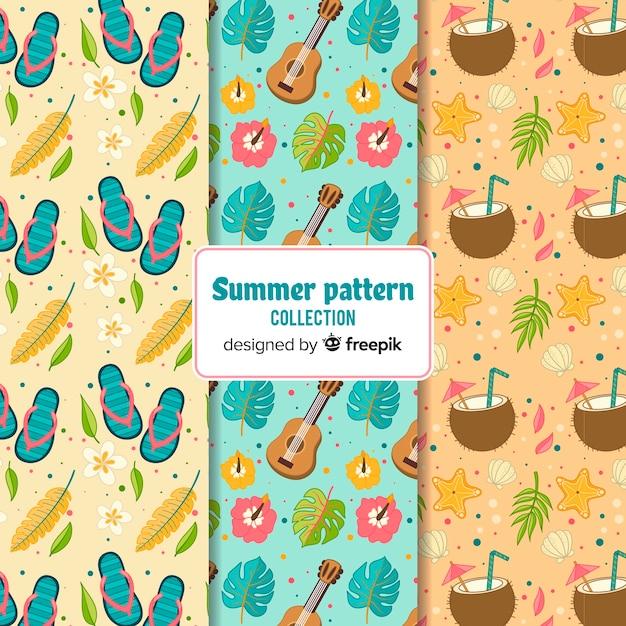 Pack patrones verano dibujados a mano vector gratuito