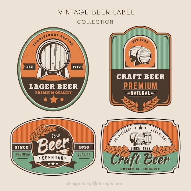 Pack de pegatinas de cerveza en estilo vintage vector gratuito