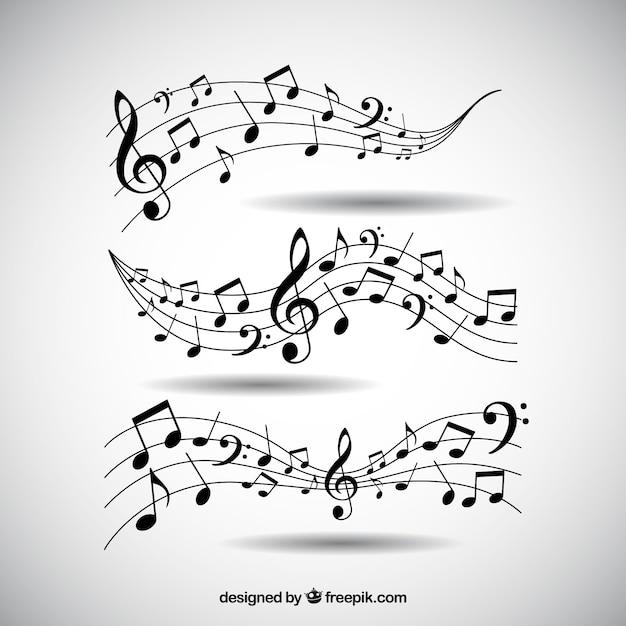 Pack de pentagramas y notas musicales vector gratuito