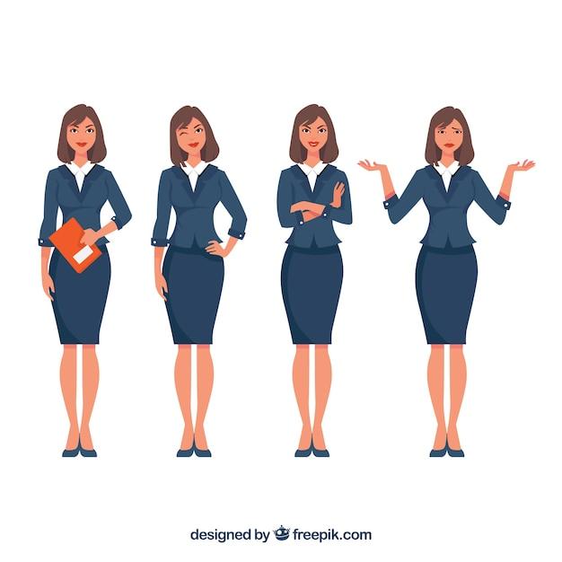 Pack de personaje de mujer de negocios expresiva vector gratuito