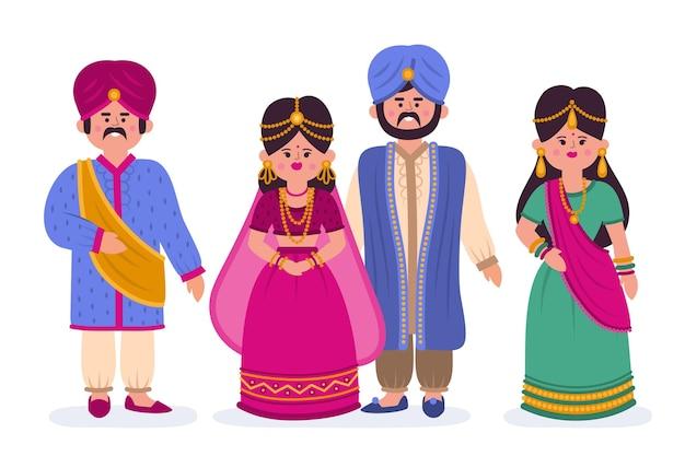 Pack de personajes de boda indios vector gratuito