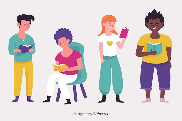 Pack de personas ilustradas estudiando vector gratuito