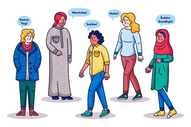 Pack de personas multiculturales de dibujos animados vector gratuito