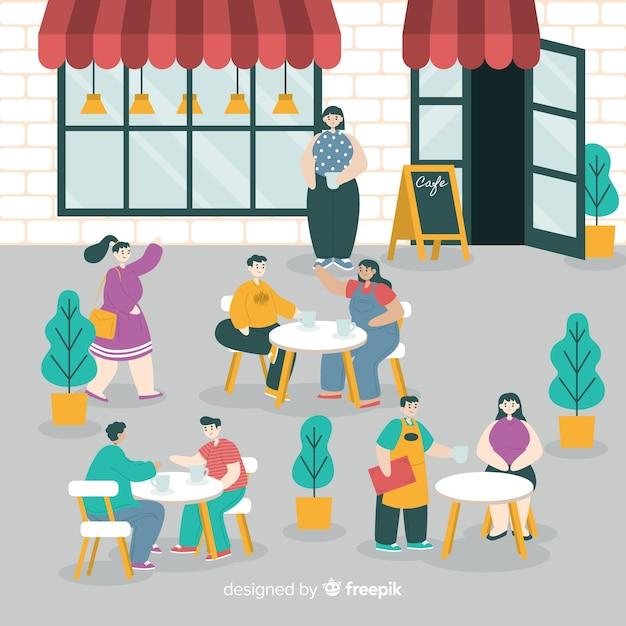 Pack de personas sentadas en una cafetería vector gratuito