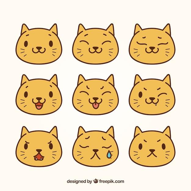 Pack plano de emoticonos de gato bonito vector gratuito