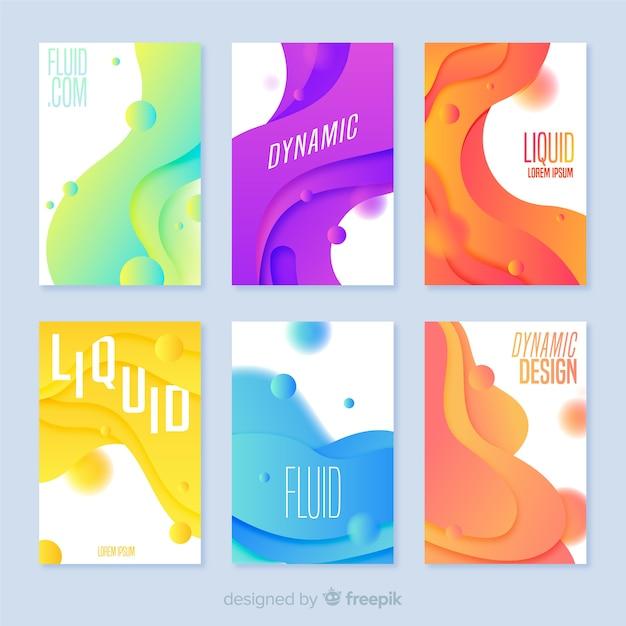 Pack poster formas fluidas vector gratuito