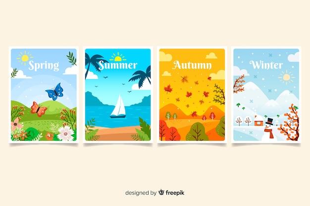 Pack pósters estacionales dibujados a mano vector gratuito