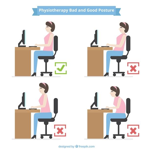 Pack de posturas incorrectas y correcta frente al ordenador vector gratuito