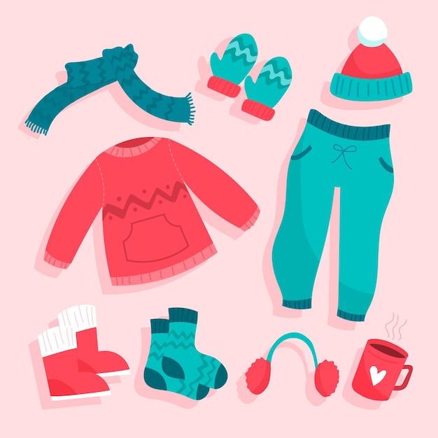 Pack de ropa de invierno ilustrada vector gratuito