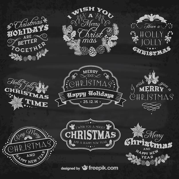 Feliz Navidad Rotulos.Pack De Rotulos De Navidad Vintage Descargar Vectores Gratis