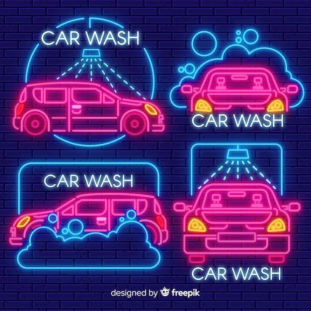 Pack señales neón lavadero de coches vector gratuito