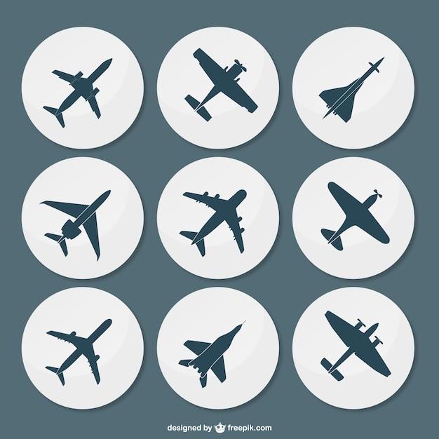 Pack de siluetas de aviones vector gratuito