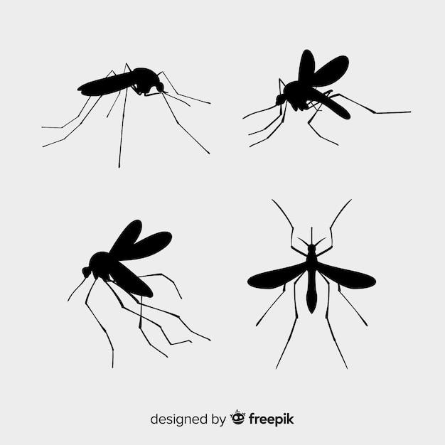 Pack de siluetas de mosquitos Vector Premium