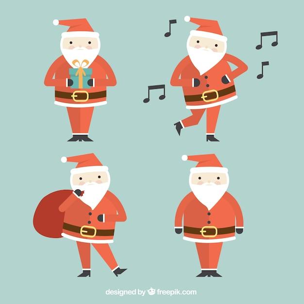 Fotos Simpaticas De Papa Noel.Pack Simpatico De Cuatro Papa Noel Geometricos Descargar